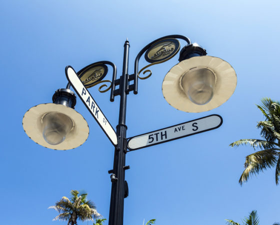 Historical street sign in Naples, Florida